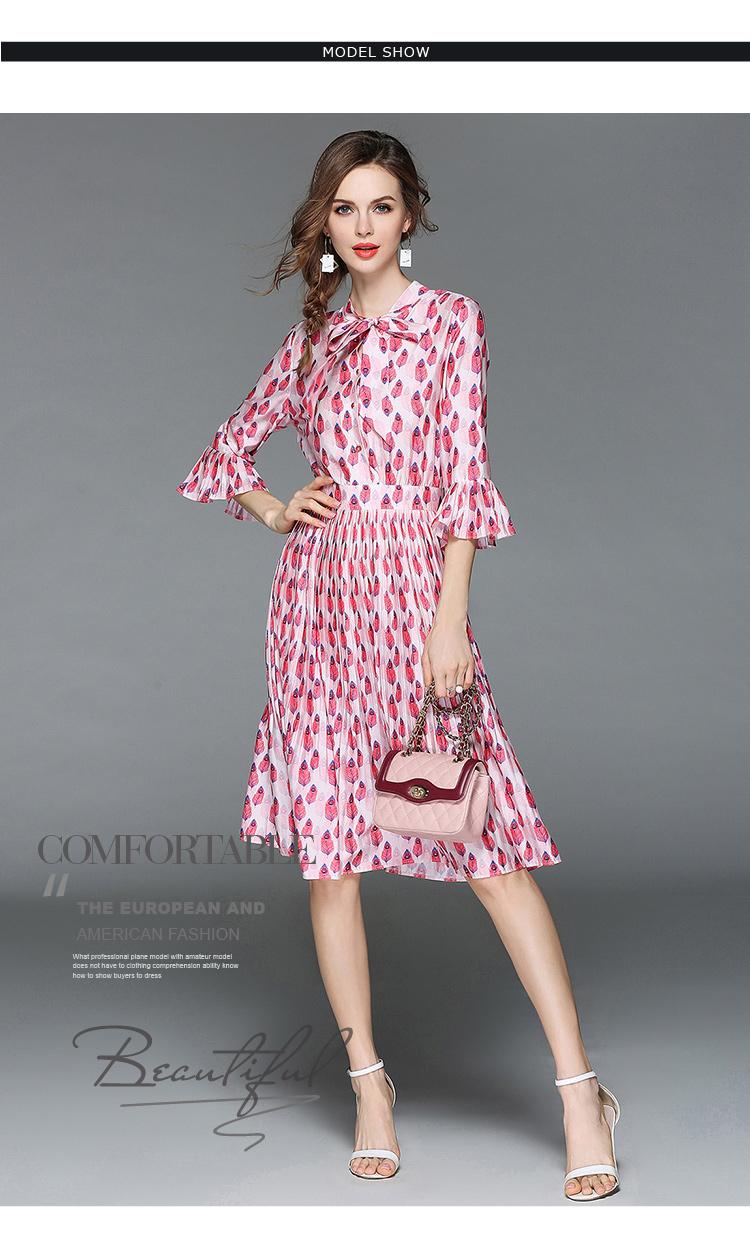 Woman Horn Sleeve Printed Pink Summer Dress Womens Dresses New Arrival 2018 Midi Beach Party Dress Dames Kleding K6012 10