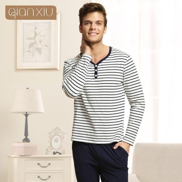 Qianxiu Pajama Sets For Men Knitted Cotton Homewear Autumn Casual Pyjamas