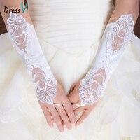 Dressv white beaded lace fingerless bridal gloves cheap white elbow lace women wedding dress gloves wedding accessories