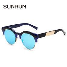 SUNRUN Diseñador de la Marca Mujeres Del Ojo de Gato gafas de Sol de Recubrimiento Gafas de Sol de Moda Gafas de Marco de Metal Gafas De Sol Gafas Feminino 1654