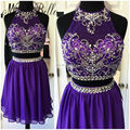 2016 Sparkly 8th Grade Prom Dresses Two Piece Short Homecoming Dresses Purple Beaded Top Sequined Vestido De Gala Juveniles