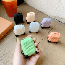Applicable to Apple AirPods cartoon wireless Bluetooth headset cover silicone charging set personality round suitcase portable