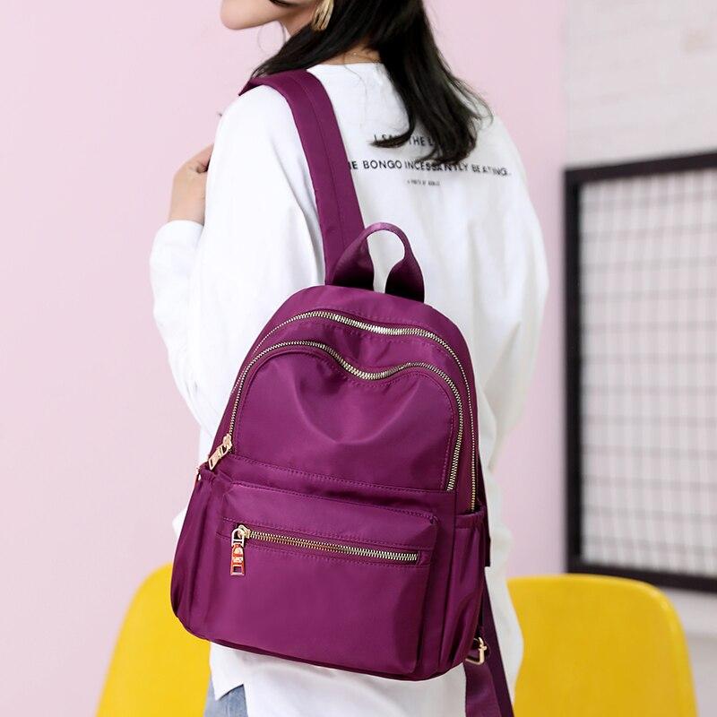 Casual Oxford Women Backpack Black Waterproof Nylon School Bags For Teenage Girls Fashion Travel Backpack Tote Mochila
