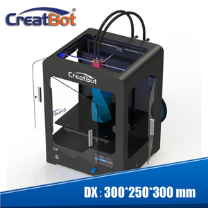 Free shipping! DX Dual Extruder 3d printer Build Size 300*250*300 mm CreatBot+2KG filament PLA/ABS+2 tapes+4 brass nozzle
