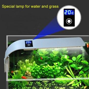 15 Вт супер светодио дный тонкий светодиодный аквариумный свет растения растёт освещение рыбный бак Сенсорная лампа измерение температуры ...