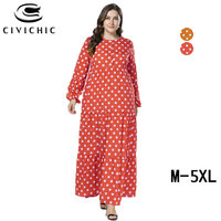 CIVI CHIC Plus Size Loose Jurk Spring Autumn Long Robe Femme Polka Dots Maxi Dress Large Swing Vestidos Button Party Gown DRS290