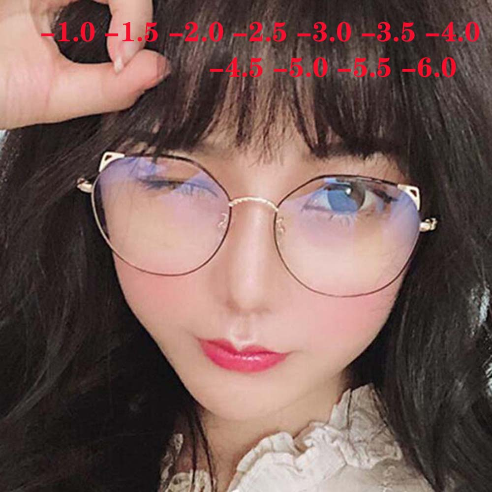 Metal Cat Ears Myopia Finished Glasses Women Men Round Nearsighted Clear Spectacle -1 -1.5 -2 -2.5 -3 -3.5 -4 -4.5 -5 -6