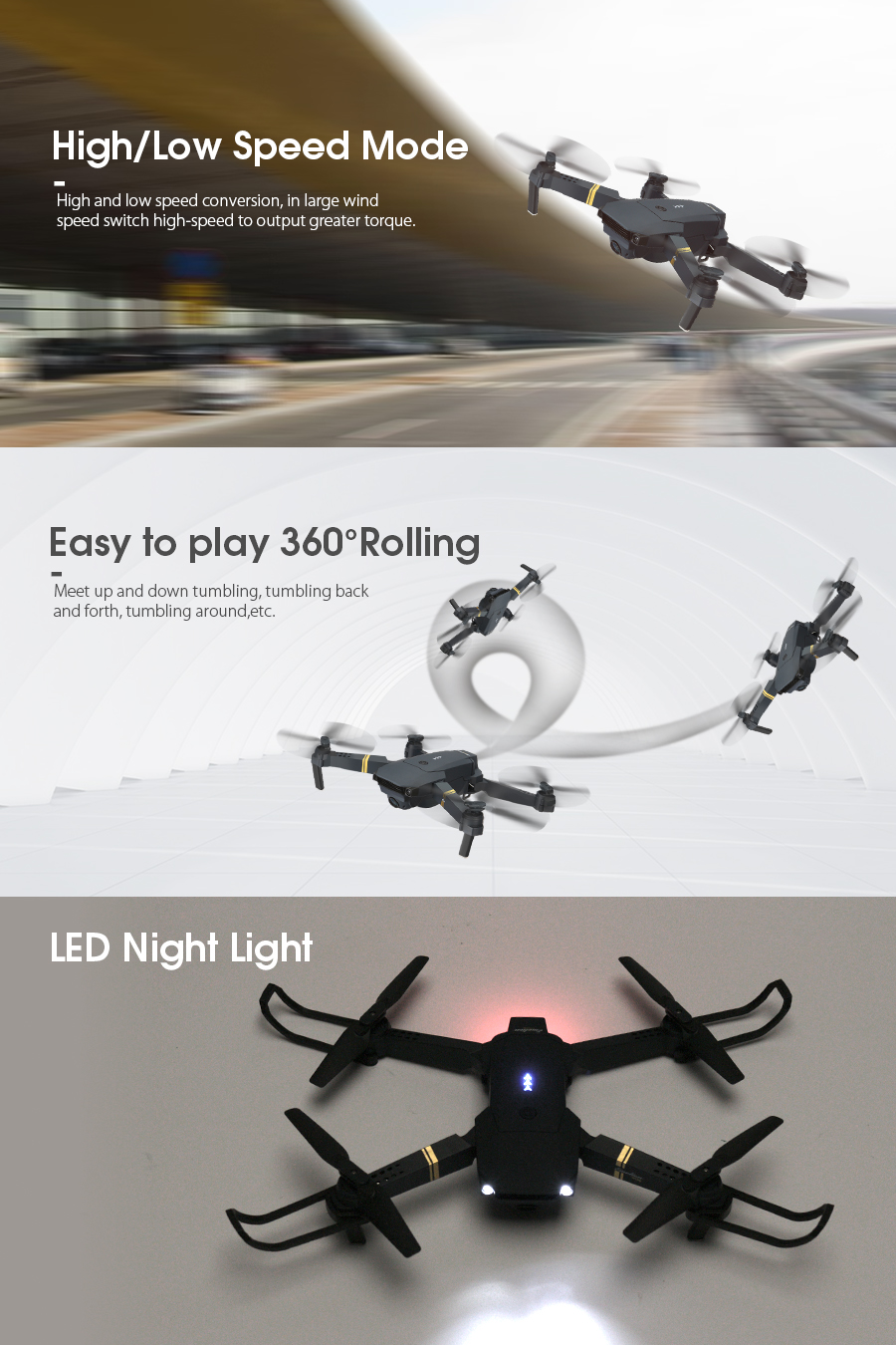 Super fast, easy to play 360 degrees rolling and LED Night Light on Eachine E58