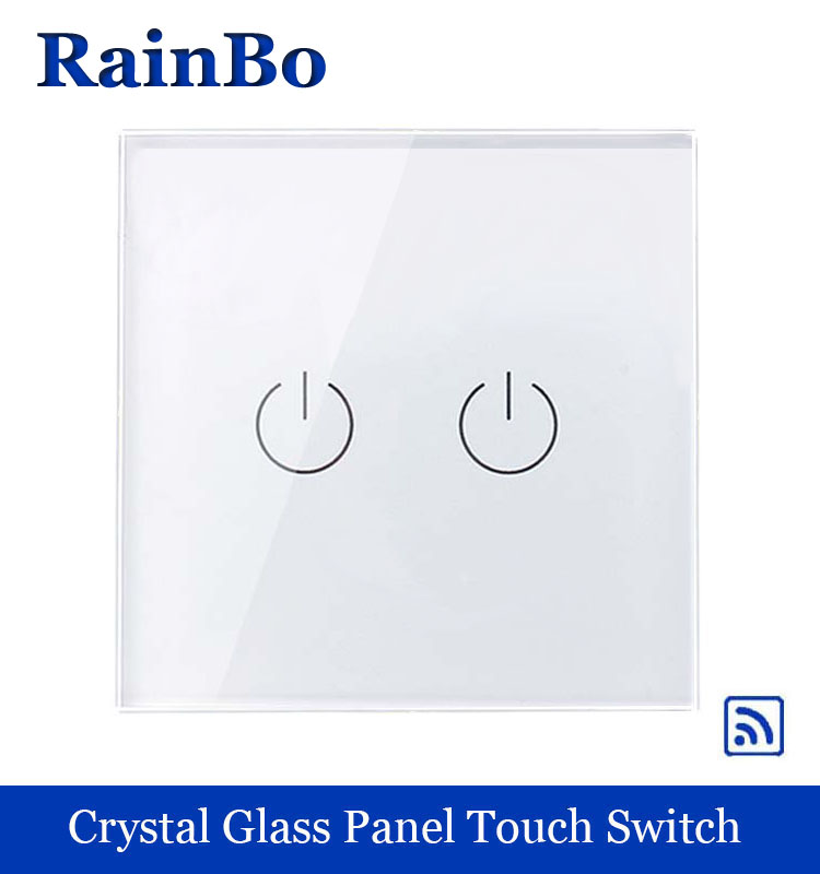 rainbo Crystal Glass Panel Switch EU Wall Switch  Remote Touch Switch Screen Wall Light Switches 2gang1way for LED lamp A1923W/B white 1 gang 1 way led crystal glass panel light touch screen remote switch for light with wireless remote control 110v 220v