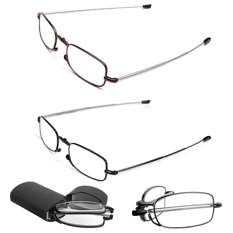 Portable Folding Reading Glasses Rotation Fashion Eyeglass +1.5 +2.0 - Kläder tillbehör