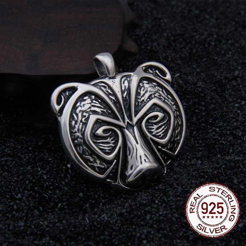 Réel 925 Sterling Argent Viking Ours Pendentif Nekclace avec vraiment en cuir comme cadeau
