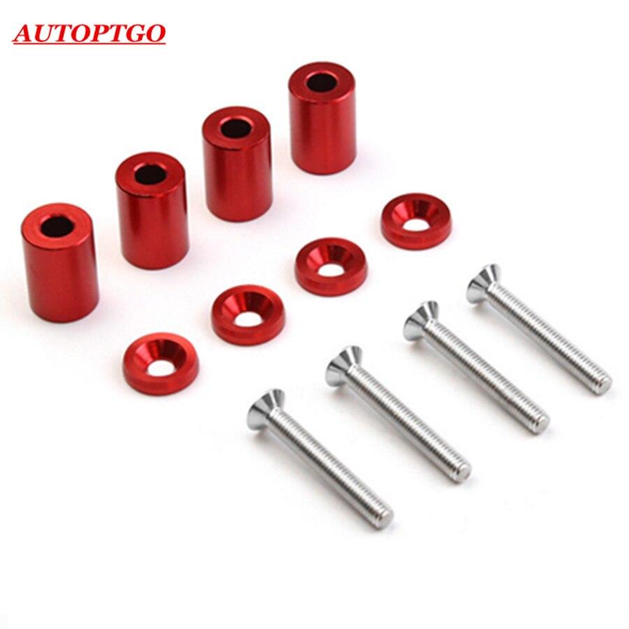 Red 6MM Aluminum Billet Hood Vent Spacer Riser Kits For Turbo Engine Motor Swap Honda Civic Accord Crv Fit Acura Integra 4PC