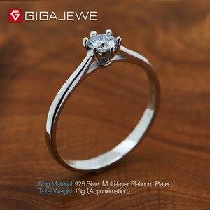 Image 4 - Gigajewe 0.3ct 4Mm Ronde Cut Ef VVS1 Moissanite 925 Zilveren Ring Diamanten Test Geslaagd Mode Vriendin Vrouwen Kerstcadeau