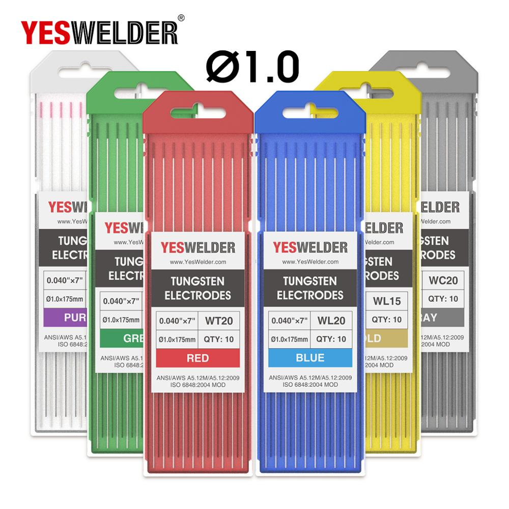 YESWELDER Tungsten Electrodes 1.0/1.6/2.4/3.2/4.0*175mm WP WT20 WC20 WL15 WL20 WX TIG Weld Rods