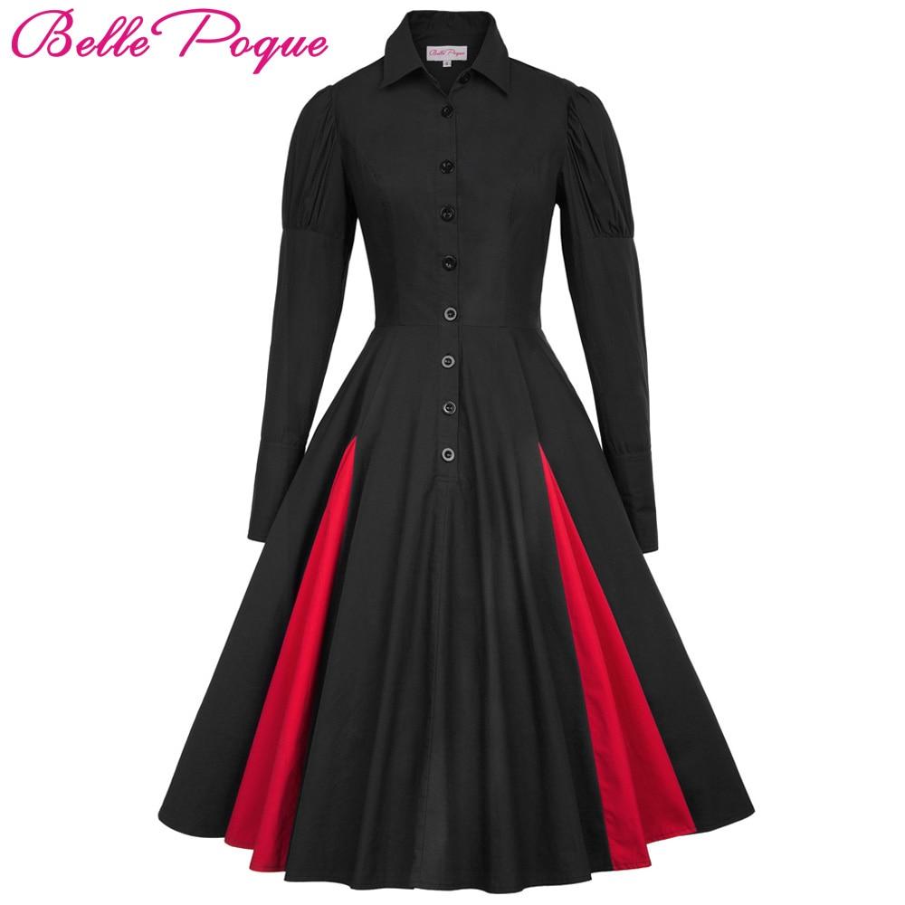 60s Cotton Sleeve 50s Autumn 1 Comfortable Long Womens Dress Dress Vintage Medieval Poque Victorian 2018 Navy 2 Black Belle Renaissance 3 Gothic Blue Dress Red qwx7OCaY