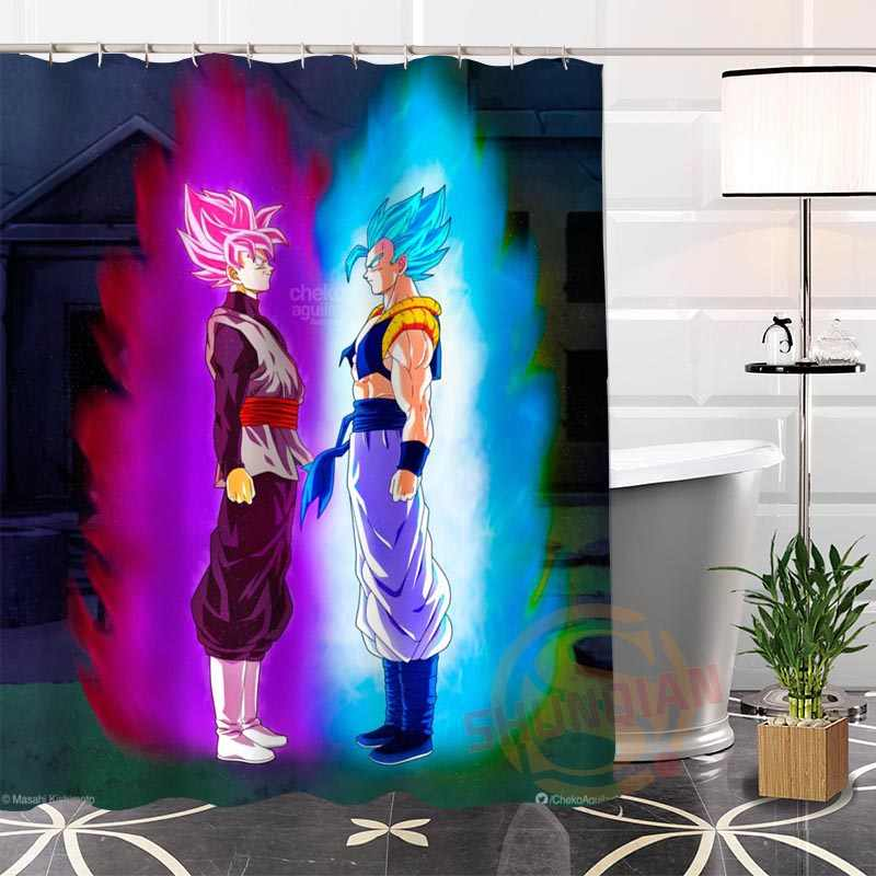 Eco-friendly Custom funny Dragon Ball Fabric Modern Shower Curtain bathroom Waterproof 12 Hooks For The Bathroom High Quality