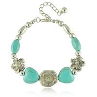 JEAE Brand Design Vintage Tibetan Silver Color Flowers Heart Bracelet Retro Bohemian Bangle jewelry for women Accessories gift