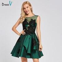 Dressv dark green cocktail dress cheap scoop neck a line sleeveless graduation party dress elegant fashion cocktail dress