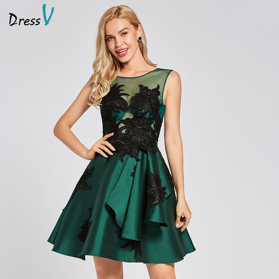 Dressv dark green   cocktail     dress   cheap scoop neck a line sleeveless graduation party   dress   elegant fashion   cocktail     dress