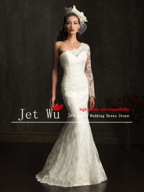 New Design Y Mermaid One Side Long Sleeve Lace Zipper Back With Ons Wedding Dress Gown