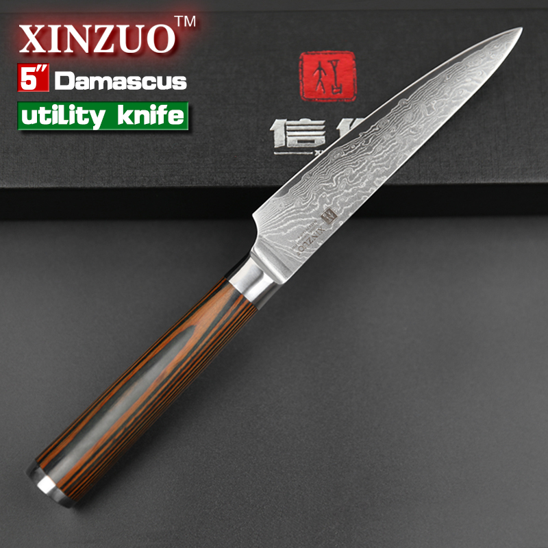 XINZUO 5pcs Kitchen Knife Set 73 Layer Japanese VG10 Damascus Kitchen Knife  Cleaver Chef Utility Knife With Pakka Wood Handle In Knife Sets From Home  ...