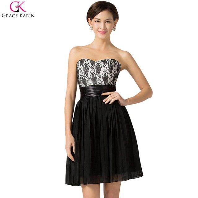 b34434f24 Grace karin vestidos de coctel cortos de encaje negro ropa de fiesta a line  de la