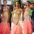 Estilo africano melocotón sirena largo prom dress para las niñas negras rhinestone del amor del desfile de vestidos de fiesta abendkleider 2017 lange