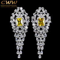 CWW Brand Women Party Jewelry White Gold Plated Luxury Square Yellow CZ Diamond Long Drop Earring