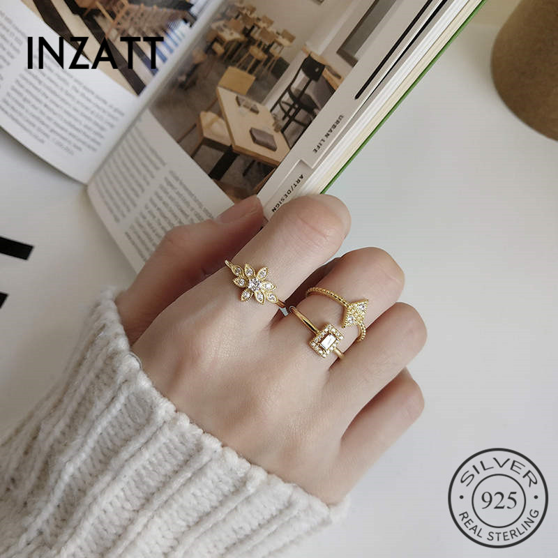 INZATT Real 925 Sterling Silver Minimalist Flower Zorcon Ring For Fashion Women Cute Fine Jewelry Accessories 2019 Gift