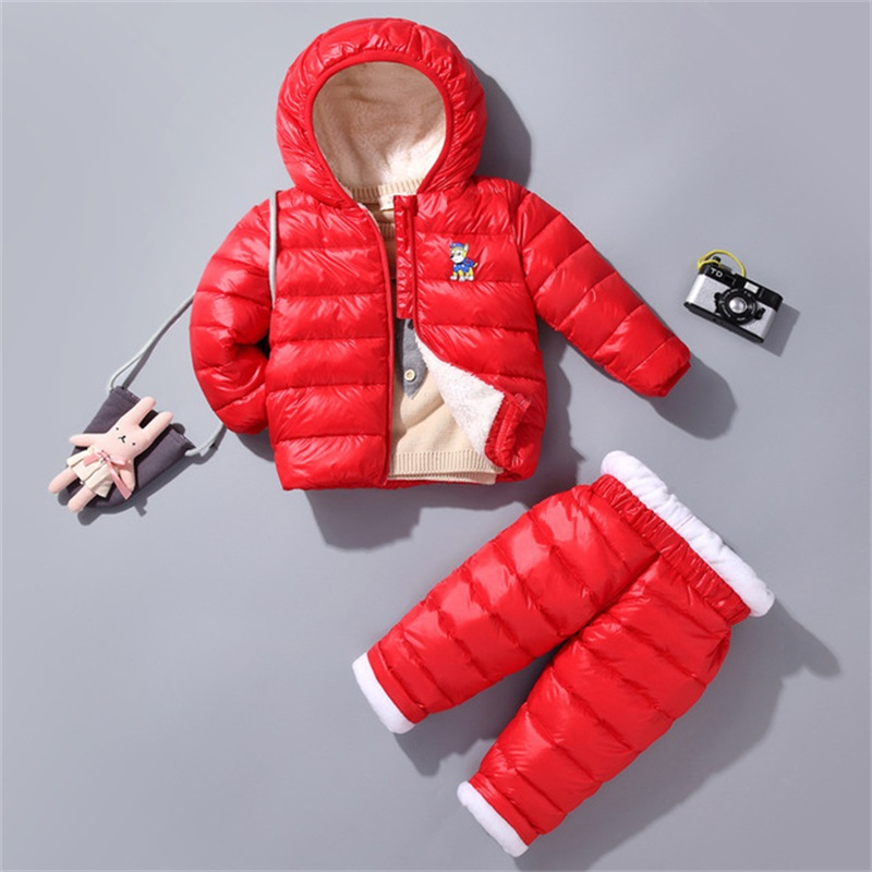 все цены на BiBiCola winter children clothing set boys plus velvet thick hoodie children kids warm sport coat+pants clothing sets