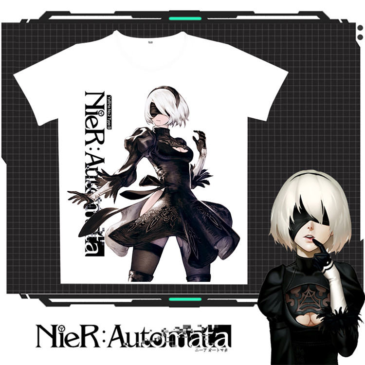 2017 Hot Game Nier: Automata 2B Casual T-shirt Men Women Cosplay Summer White O-Neck Milk Babric Tops Unisex Free Shipping
