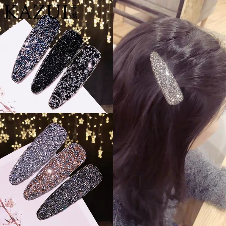 New Fashion Glitter Girls Hairpins Simple Sequins Girls Barrette Shiny BB Clip Black Solid Color Hair Accessories Women Hairclip in Women 39 s Hair Accessories from Apparel Accessories