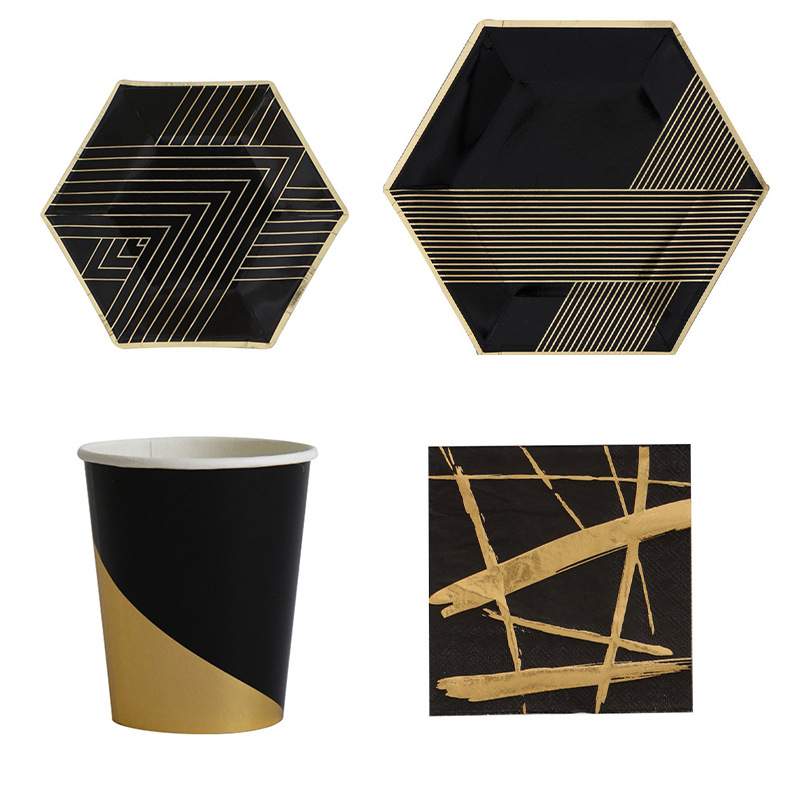 44PCS/Set Black Party Tableware Disposable Paper Plate Cups Foil Straws Utensils Wedding Birthday Party Decorations Xmas