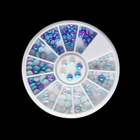 Blue White Color Mixed Size 3D Nail Art Decorations Semi-circle Pearl Nail Beads Decoration Gradient Flat Bottom Studs Manicure Nail Decorations