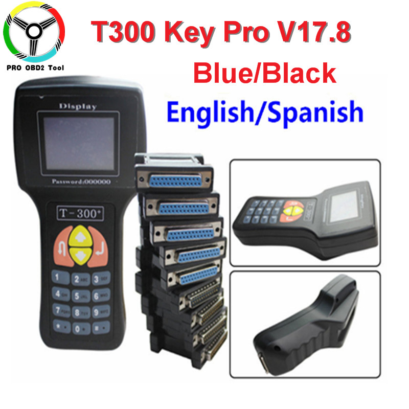 T300 Auto Key Programmer T 300 T-300 V17.8 Car Key Maker English Spanish Language Optional T Code Programmer 2 Color DHL Free