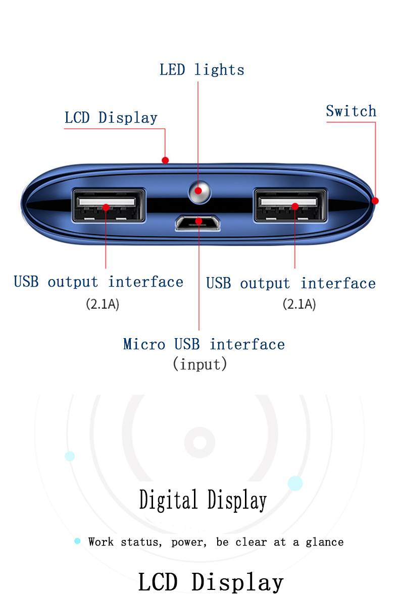Image 3 - For Xiaomi MI iphone X Note 8 10000mah Power Bank External Battery PoverBank 2 USB LED Powerbank Portable Mobile phone Charger-in Mobile Phone Chargers from Cellphones & Telecommunications