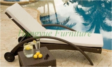 New designs outdoor rattan chaise lounge chairs furniture with cushions