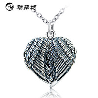 EBay amazon hot style 925 silver necklace Three dimensional wings heart pendant necklace Supply of goods manufacturer
