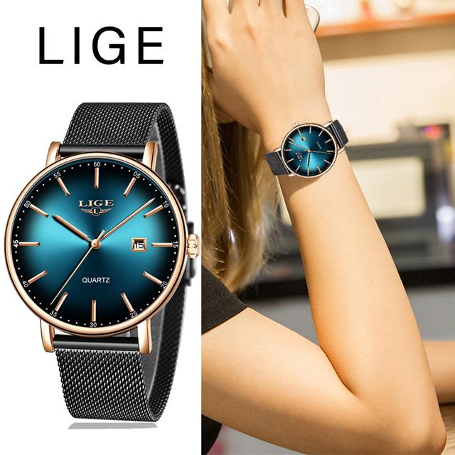 2020 Watch Women Simple Fashion LIGE Top Brand Quartz Watch Luxury Creative Waterproof Date Casual Ladies Watch Relogio Feminino