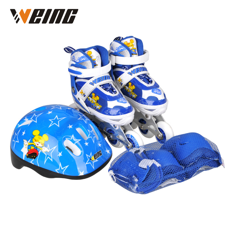 EMS shipping red blue pink kids skates shoes roller blading shoe ice skating shoes with helmet protector reniaever double roller skates skating shoe gift girls black wheels roller shoe figure skates white free shipping