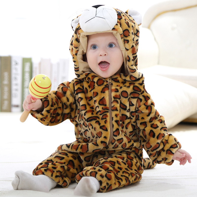 Baby Rompers Girl Clothes Newborn Baby Boy Cartoon Animal Pajamas Flannel Bathrobe Nightgown Dress Home Furnishing Kids Clothes