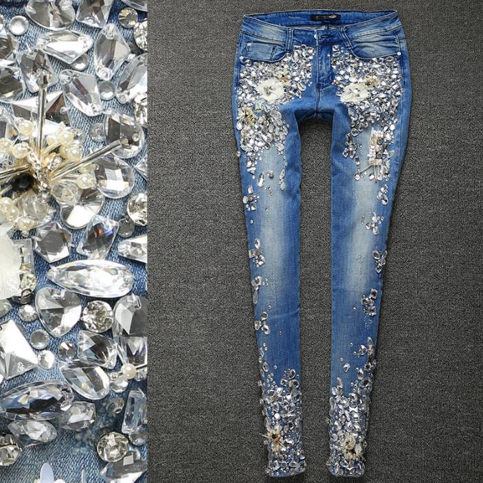 Plus Size 25 33!Women Luxury Rhinestones Diamond Denim Jeans WomenSkinny Stretch Pencil Slim Vintage