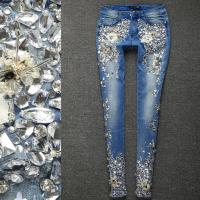 Plus Size 25 33!Women Luxury Rhinestones Diamond Denim Jeans WomenSkinny Stretch Pencil Slim Vintage