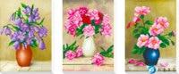 5d Diy Diamond Painting Triplex Vase Cross Stitch Round Rhinestone Diamond Mosaic Picture Home Decoration Christmas