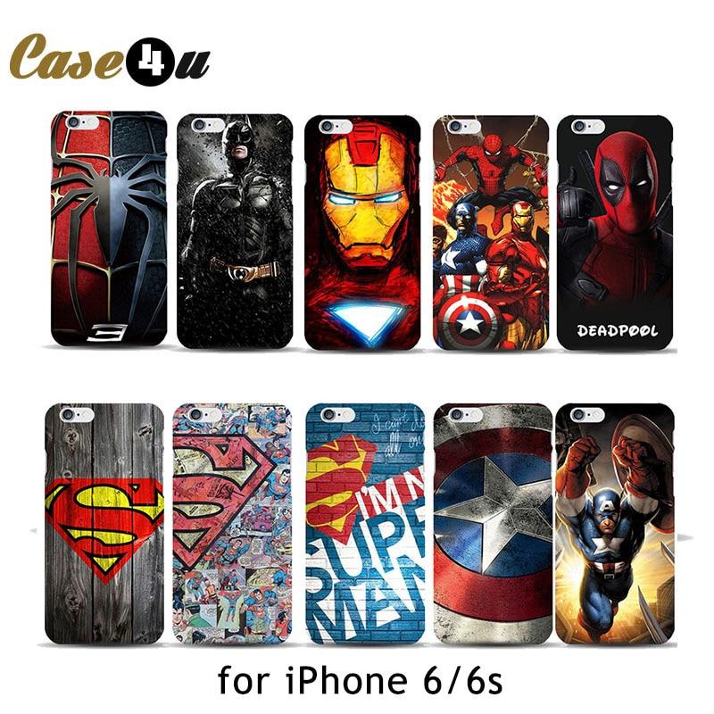 Marvel Avengers Spider man Dark Knight Hard Case Cover for iPhone 6 6s Batman Superman S logo  Captain America Shield 10 Designs iPhone
