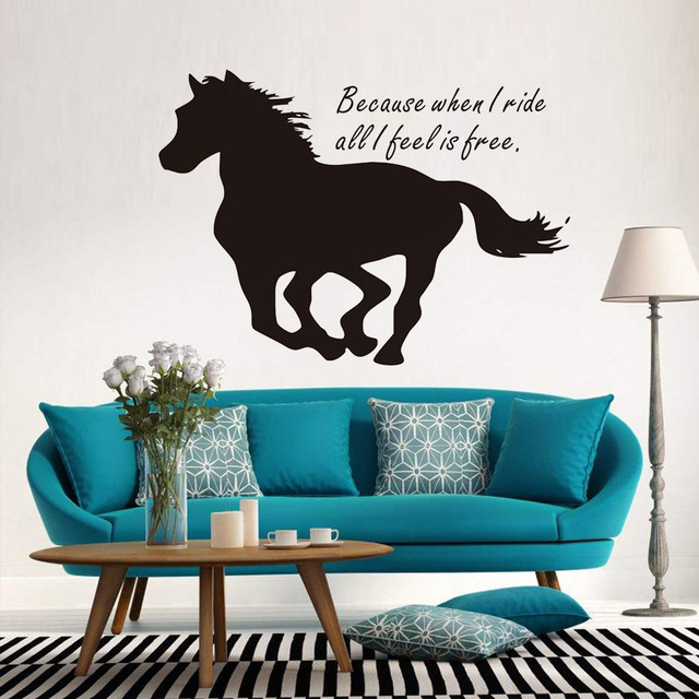 Because When I Ride All I Feel Is Free Horse Wall Stickers Inspirational  Words Animal Silhouette