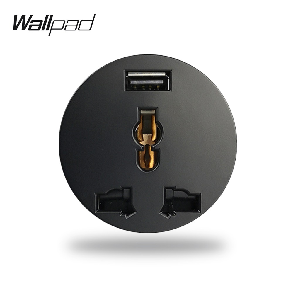 Wallpad L6 Black White EU UK US Universal Wall Electrical Power Socket With 2.1A USB Charging Port Modular DIY Free Combination