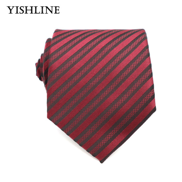 440aa1701082 XT112 Mens Accessories 8cm Dark Red Stripes 100% Silk Ties Men Brand  Neckwear Business Wedding Grooms Necktie for Suit Shirt