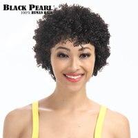 Perla nera Brasiliana Remy Capelli Corti Ricci Parrucche Dei Capelli Umani per le Donne Nere Corto Pixie Parrucca Afro Parrucca Afro-Americana 1b #