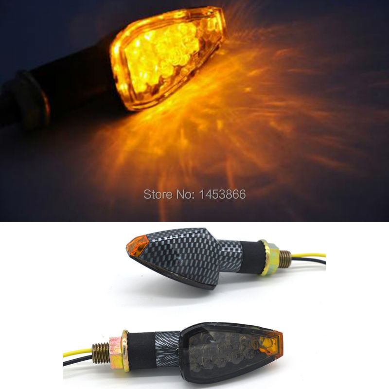 2 X 14 LED 12V 2W Black Motorcycle CARBON Mini LED Turn Signal Lights Indicators Amber light Flasher
